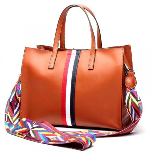 Fashion Handbag For Ladies With Three Color Strips
