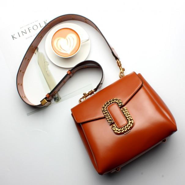 Western Style Cowskin Leather Baguette Handbag