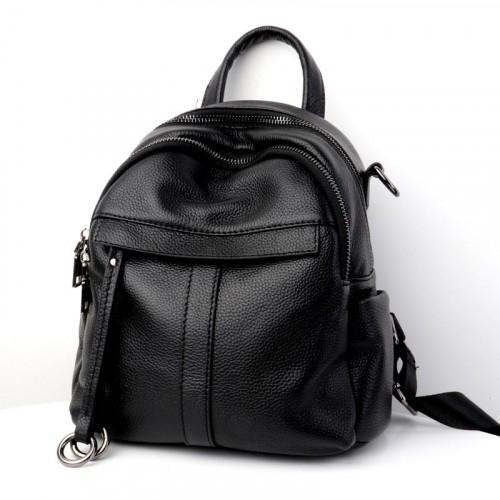 Black Color Leather Backpack