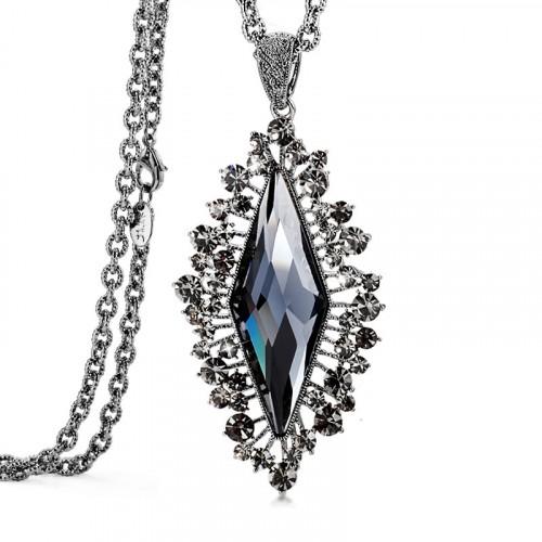 Multiple Faces Rhomb Style Cristal Pendant Necklace