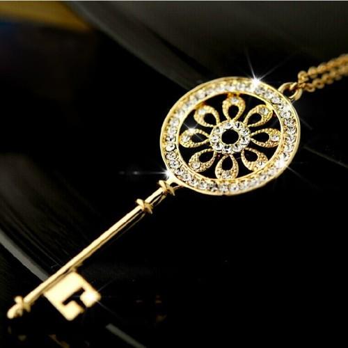 Golden Key Shaped Pendant Necklace With Rhinestones