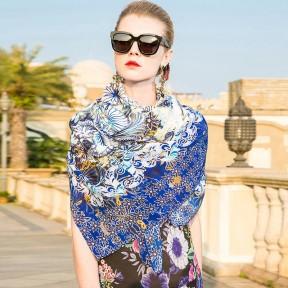 Lady Scarf Blue Blue Mulberry silk Scarf PKHAW013