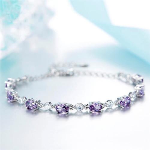 Zircon Stone Silver Bracelet