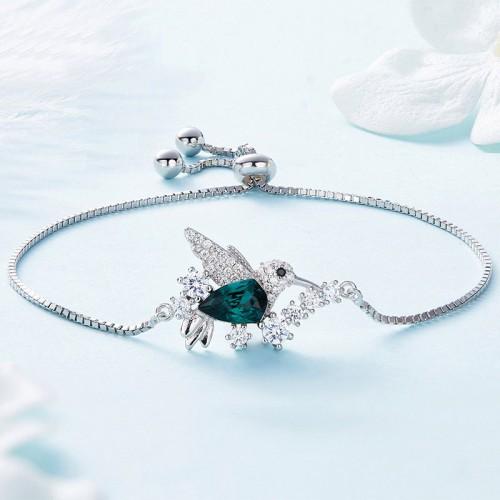 Beautiful Blue Crystle Hummingbird Silver Bracelet