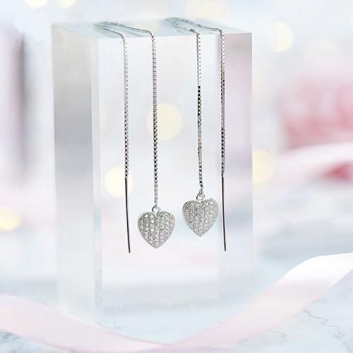 S925 Silver Heart Drop Earrings
