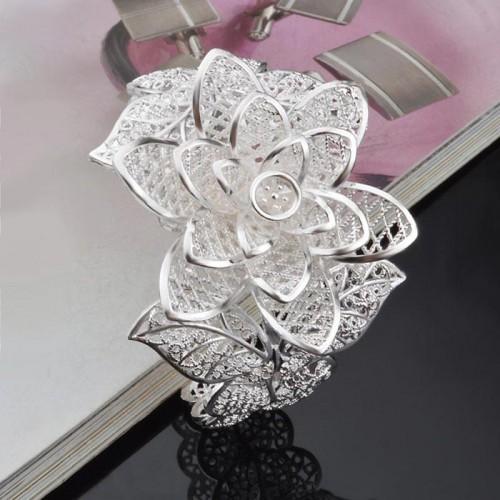 Silver Lotus Sterling Bracelet