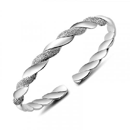 Winding U Shaped Dull Polished Silver Bracelet